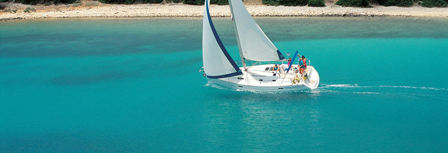 charter a boat in goat bay greece