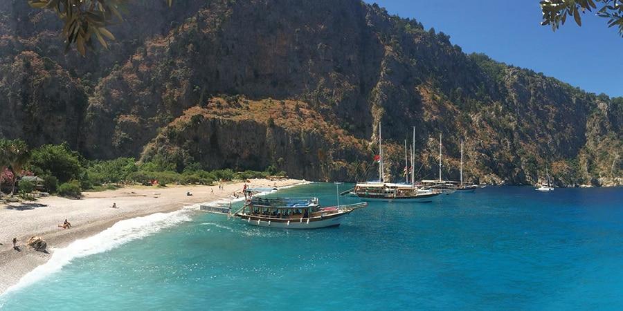 gullets sailing the Samanlik Bay in Turkey