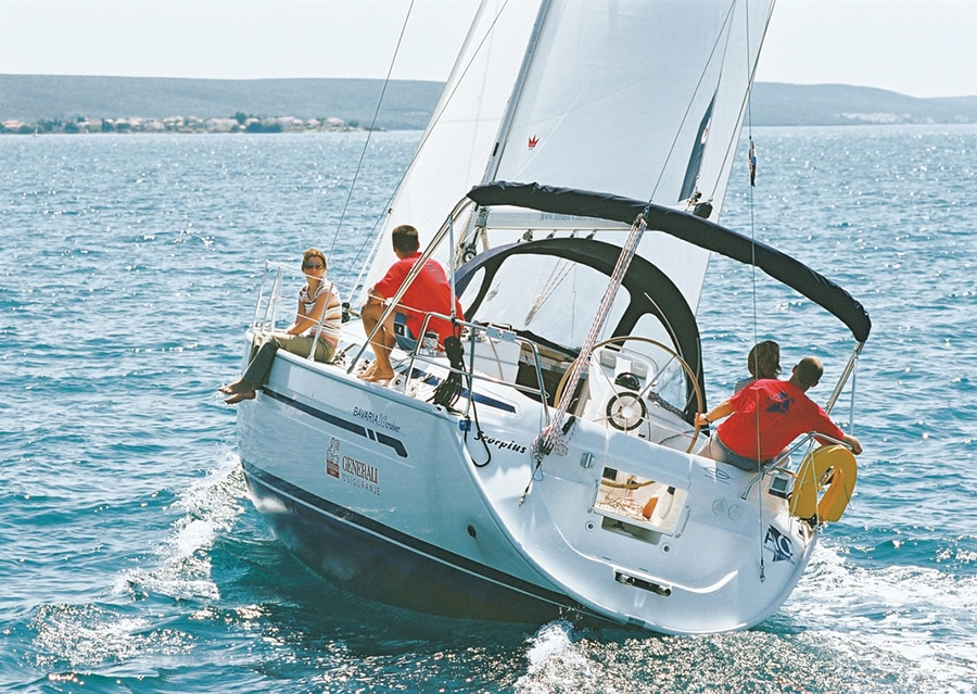 group of friends enjoy sailing the Bavaria 36 in Turkey