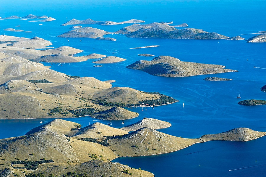 the archipelago of Kornati and the boat sailing in the area