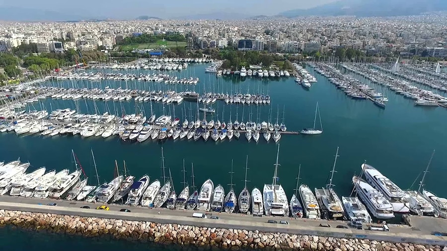 countless boats docked at the Alimos Marina of Athens in Greece