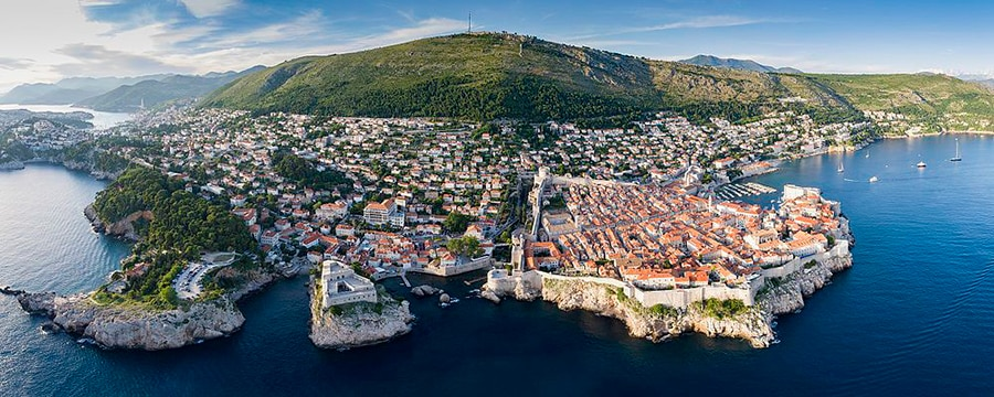 aerial view on the hill over Dubrovnik overlooking the town