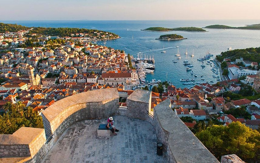 a view of the fort above Hvar Croatia