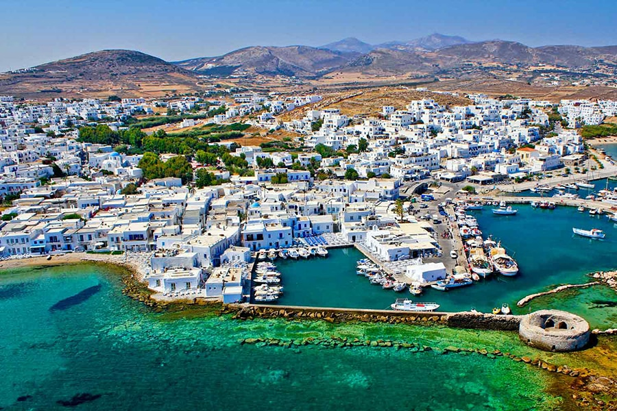 a magical marina and pretty town in Paros in Greece