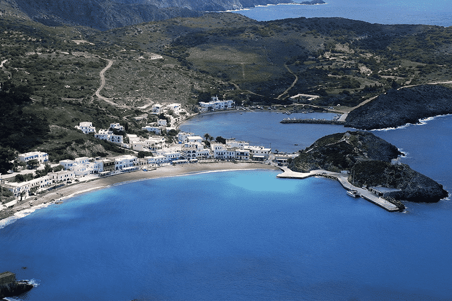 an aerial view of the Ionian Islands in Greece