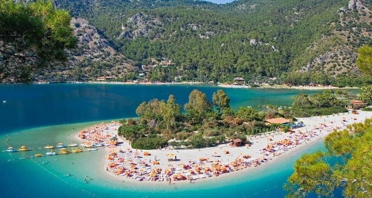 Fethiye beaches with emerald green and sandy beaches