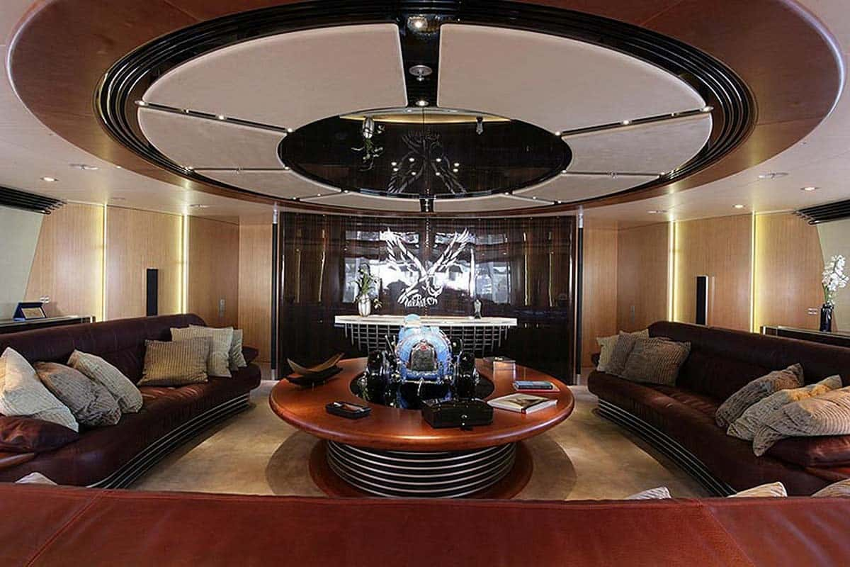 luxury saloon in the interior of the Maltese Falcon super yacht