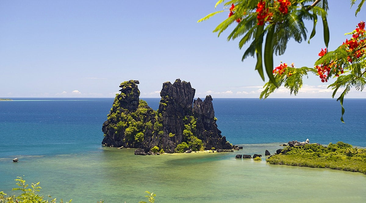 amazing rocky tropical scenery at Hienghene in New Caledonia ideal for hiking and biking