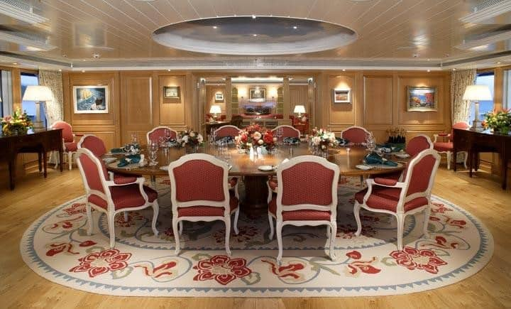 the glamour of Bella Vita luxury yacht dining room
