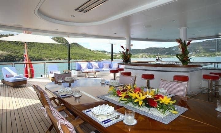 view from Bella Vita luxury yacht dinning on the deck
