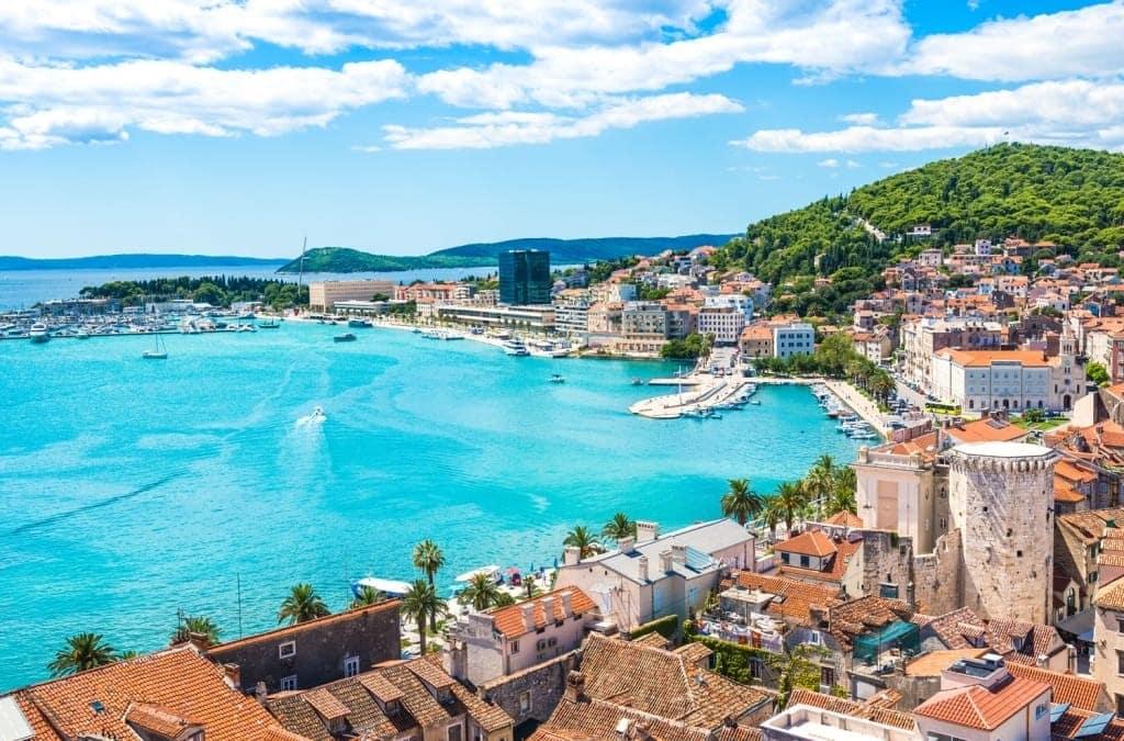 boat cruising and enjoying the view of the coast of Brac Croatia