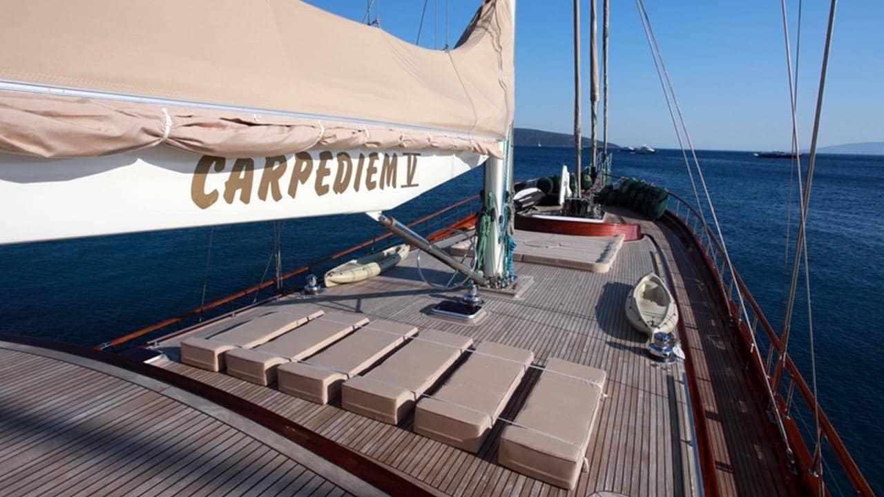 large spacious deck of CarpeDiem 5 gulet