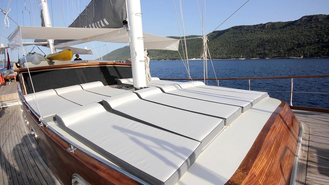 sunbeds of the deck of Sebahat Sultan gulet