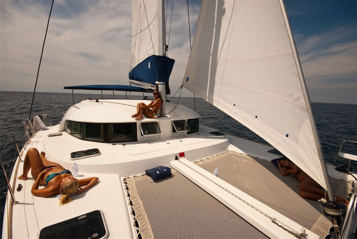 Lagoon 380 on the deck