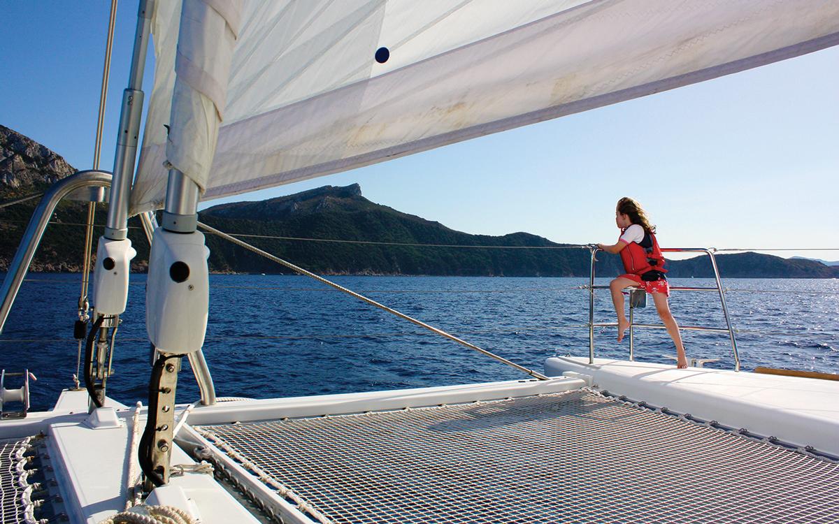 girl enjoys on a Lagoon 620