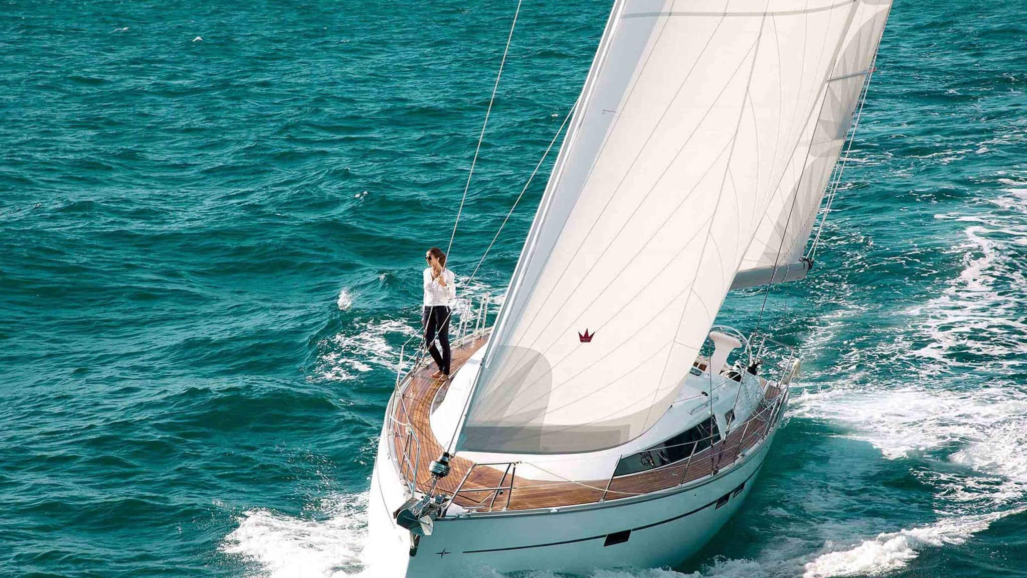woman enjoys the Bavaria 41 Cruiser