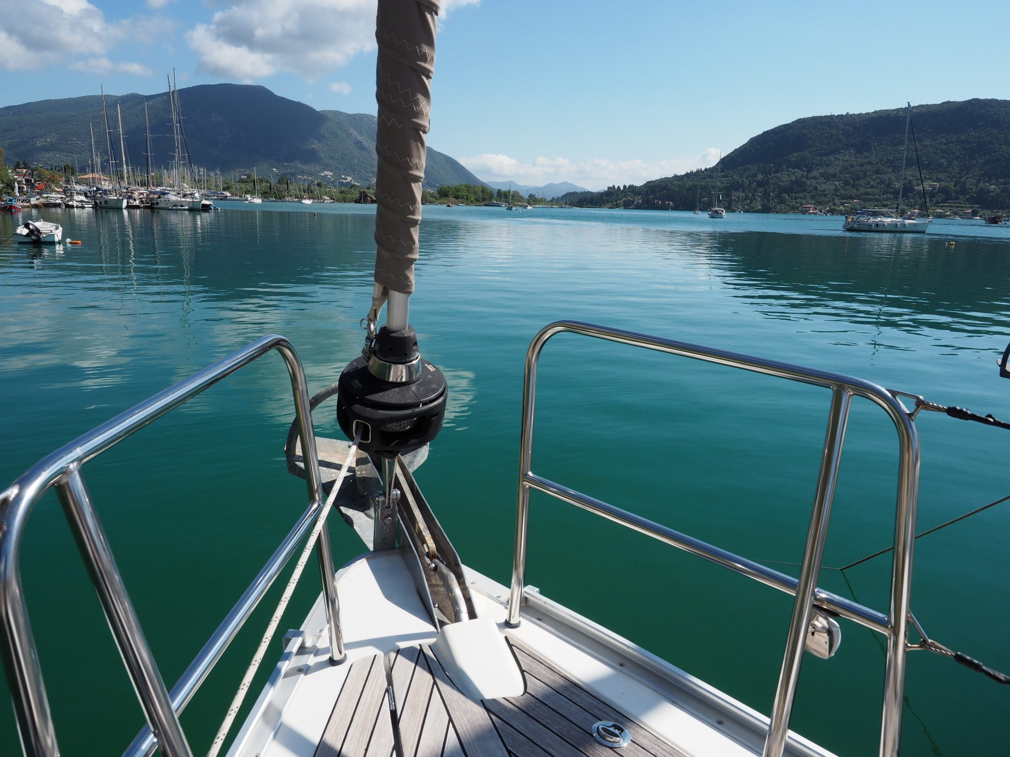 front sail overlooking Croatian landscape
