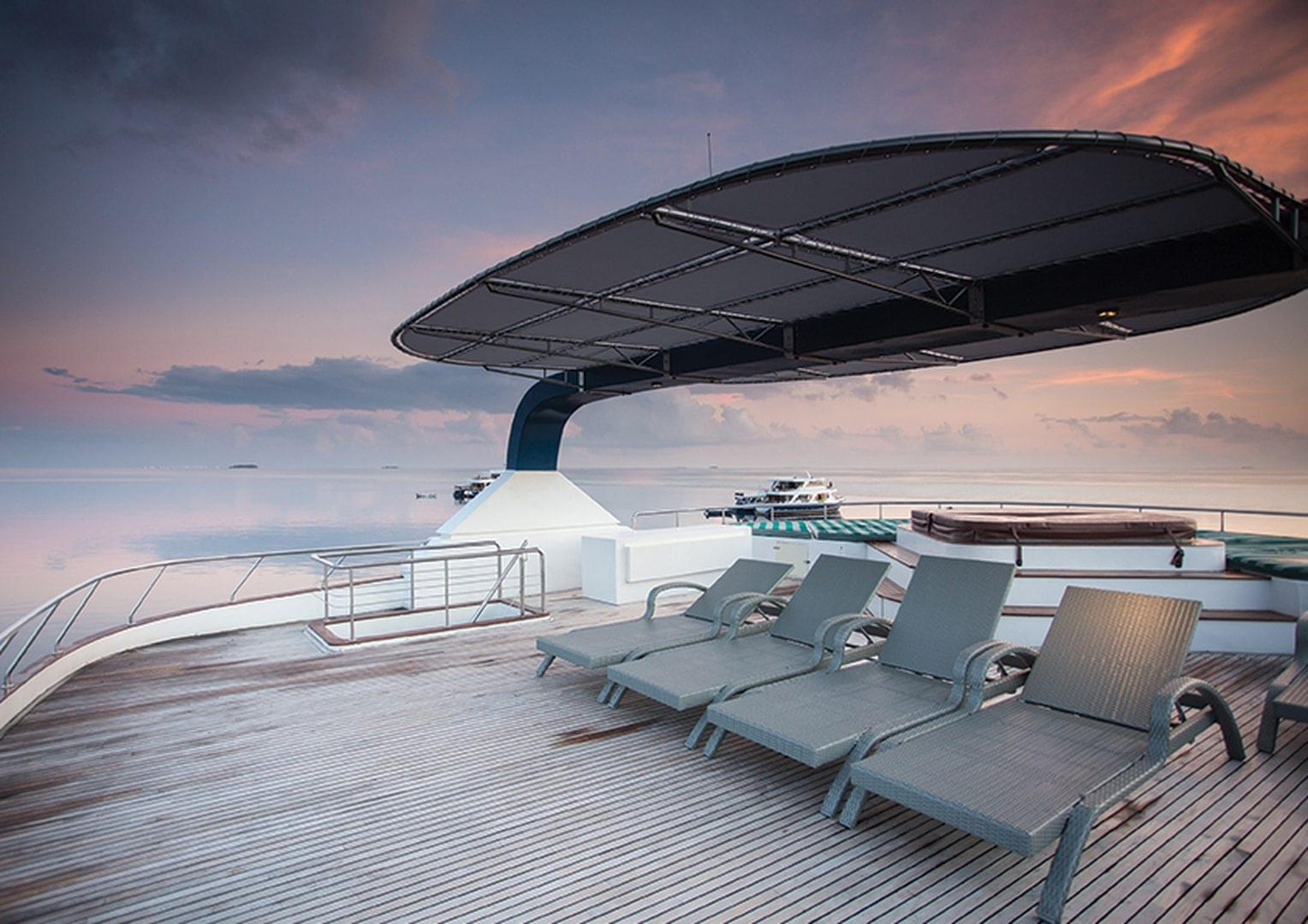 Honors Legacy yacht deck on a sunset
