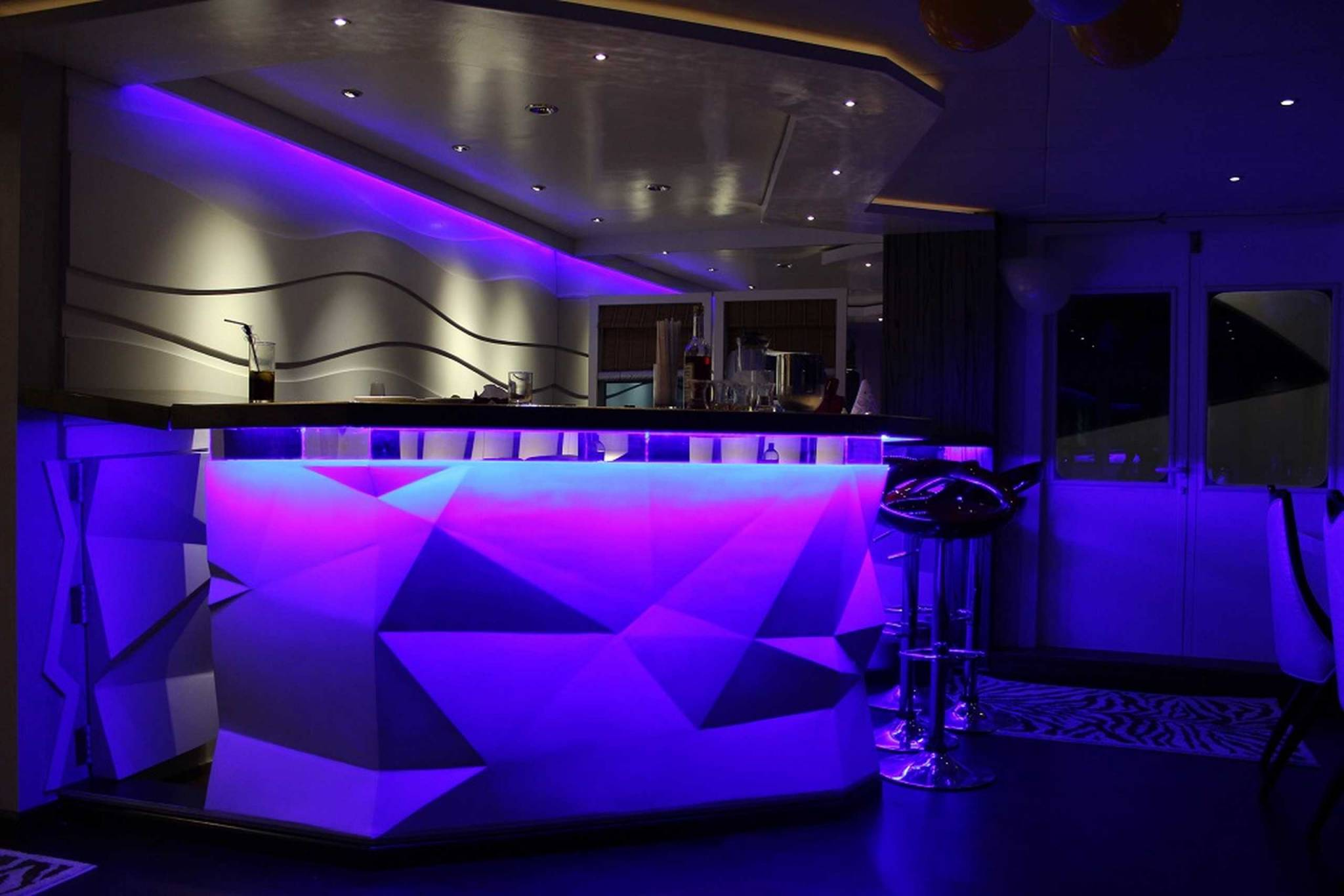night bar at the Honors Legacy yacht