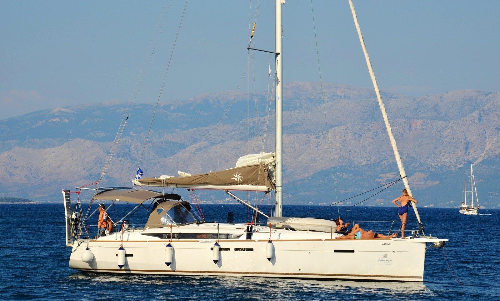 friends sailing Sun Odyssey 449 in Croatia
