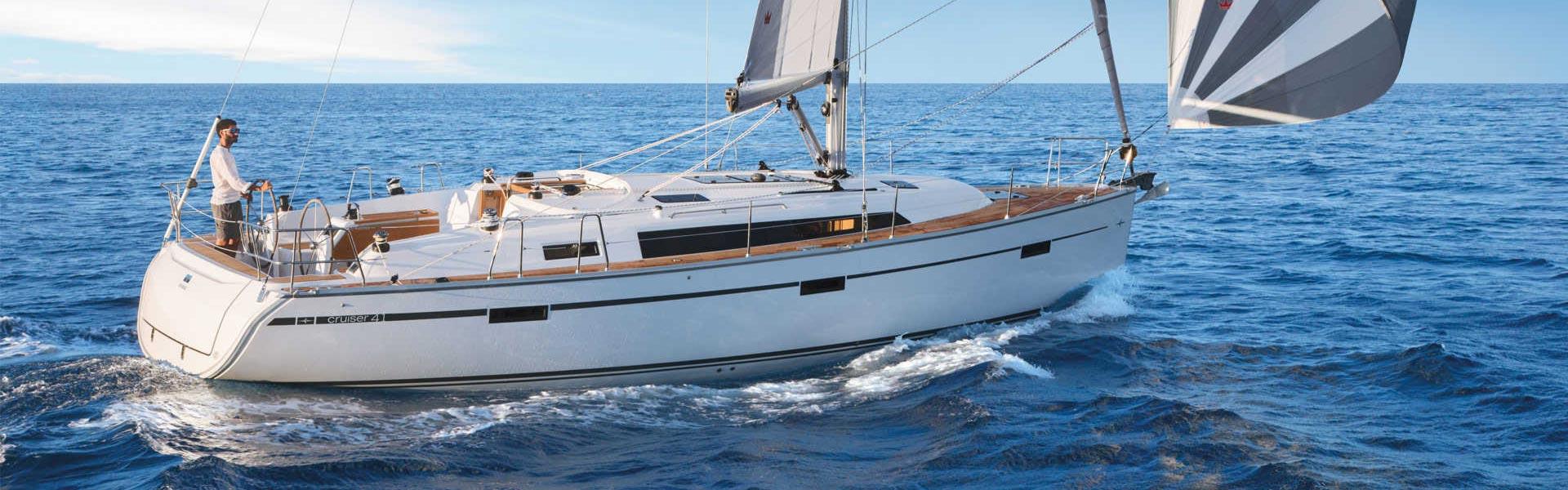 man sailing Bavaria Cruiser 41