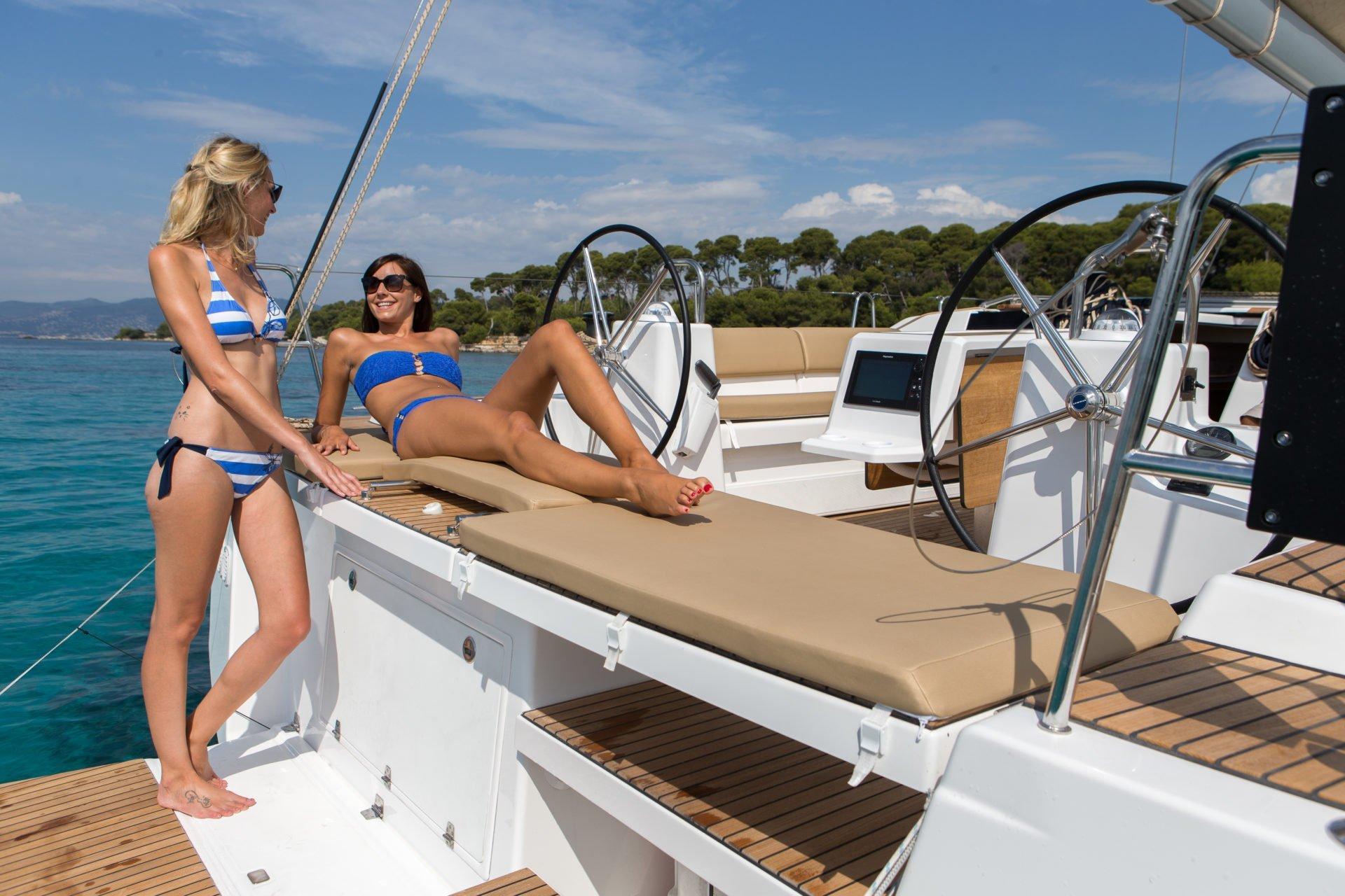 pretty girls on a yacht