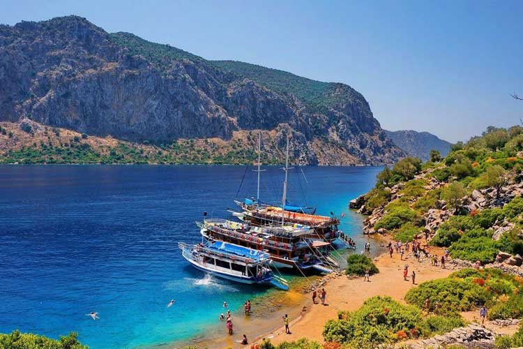 Semi private beach in Marmaris Turkey